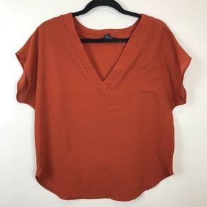 M Forever 21 Burnt Rust Crepe T Shirt Business